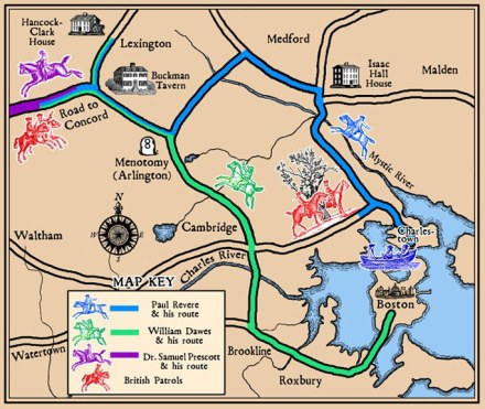 Paul Revere's Ride Map