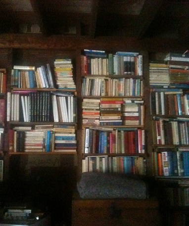 Stacks of books in the barn