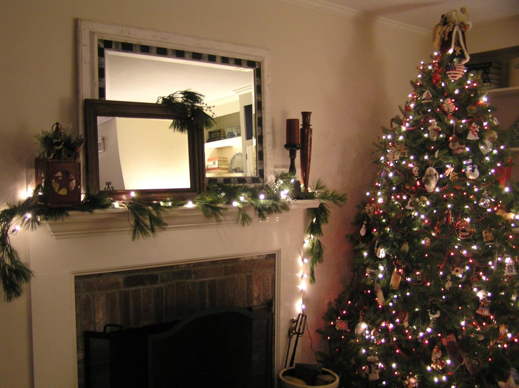Decorated Fireplace and Tree