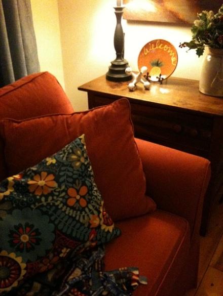 Glidden Brick Red Sofa