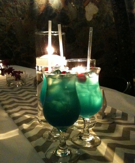 Wedding blue drinks