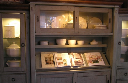 Cupboard with white pottery
