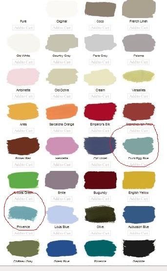 Annie Sloan Paint Colors Chosen