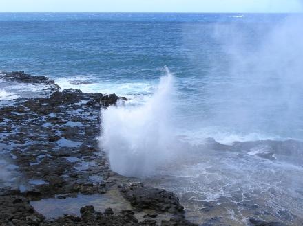 crashing surf in Kona