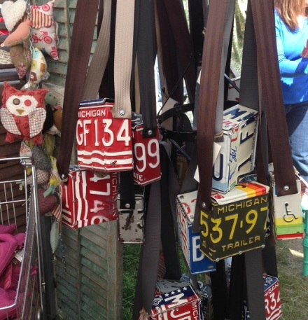 Brimfield Cash and Cari License Plate Bags