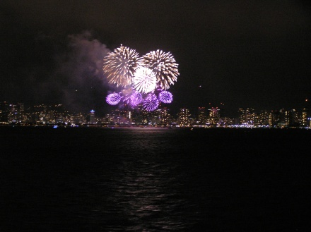Fireworks over Honolulu