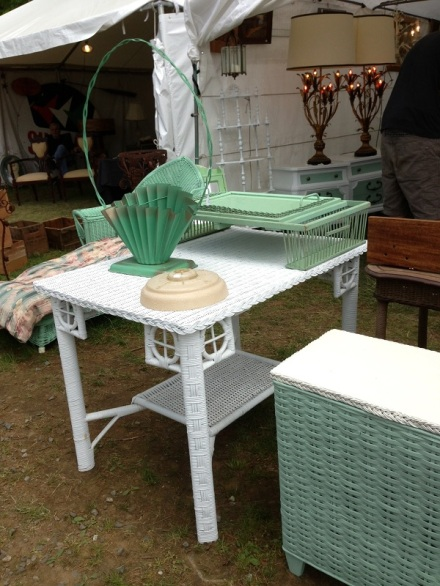 Mint Wicker Table and Dresser