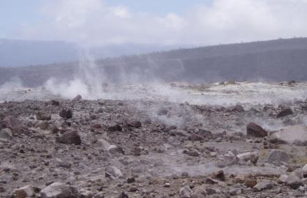 volcanic crater smoke