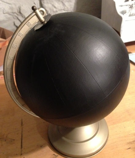 Globe Chalkboard Painted 2 coats