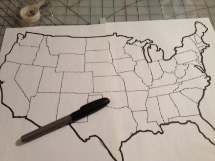 Map Tracing Outline with Sharpie