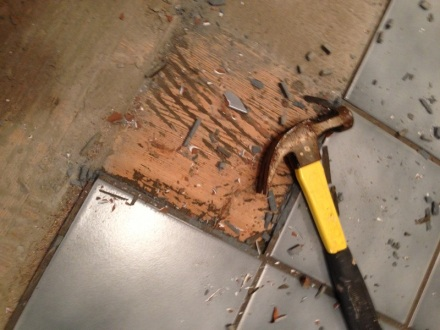 Old Bathroom Tile Removal