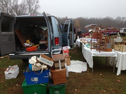 Unloading van