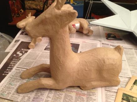 Decoupaged Deer Before