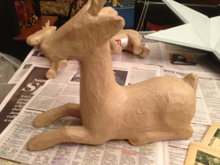 Decoupaged Deer Before
