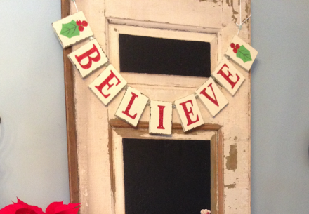 Santa Tablescape Believe Sign