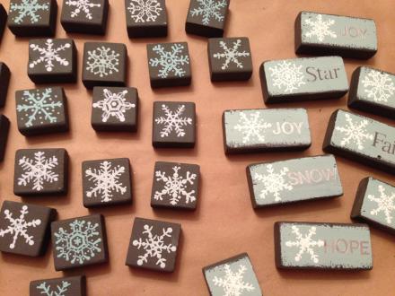 Snowflake Blocks HOPE JOY SNOW