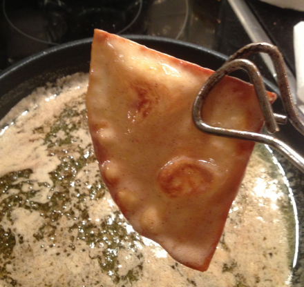 Sopapilla Using Tongs