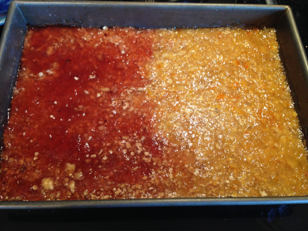 Oatmeal Jam Squares Jam in Pan Smoothed