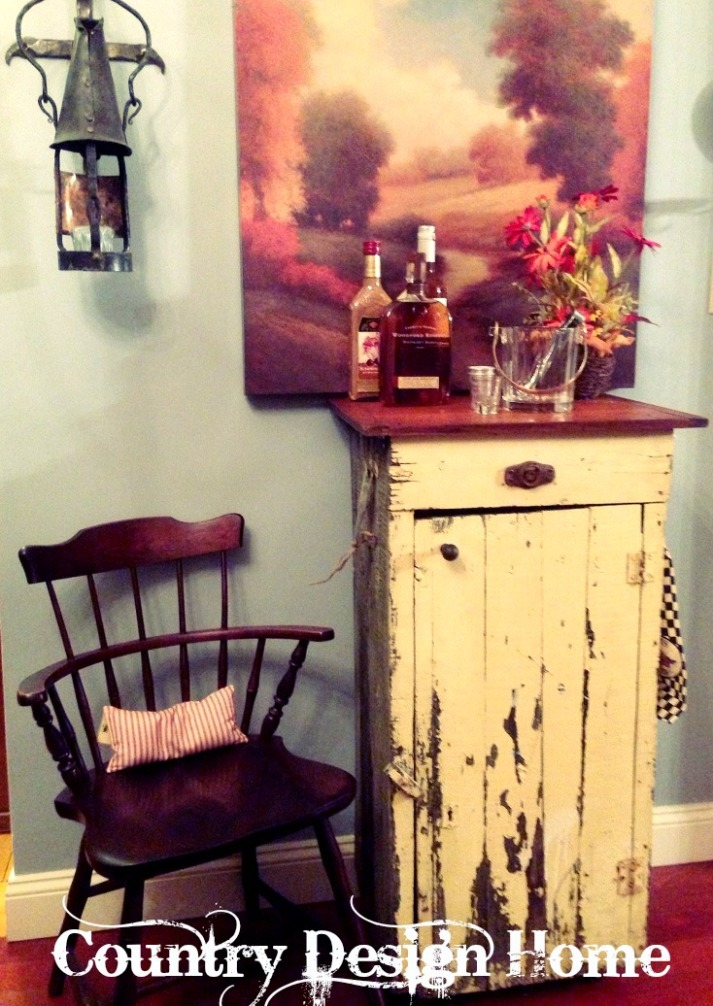 Rustic Vintage Rolling Bar Cart