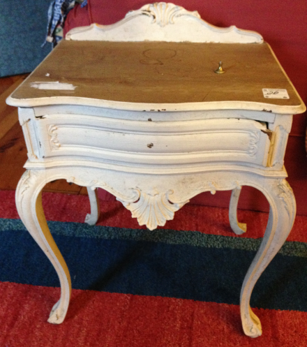 French Lavender Side Table Before