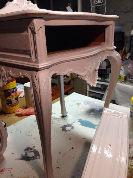 French Lavender Table Behr Lily Lavender First Coat