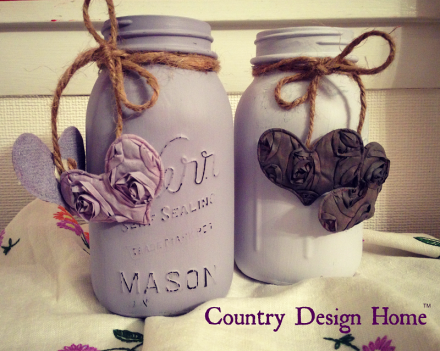 Mason Jar Painted Valentine Heart