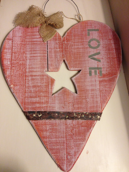 Rustic Wood Heart LOVE Sign