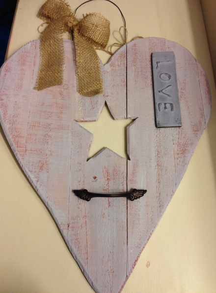 Rustic Wood Purple LOVE Heart Valentines