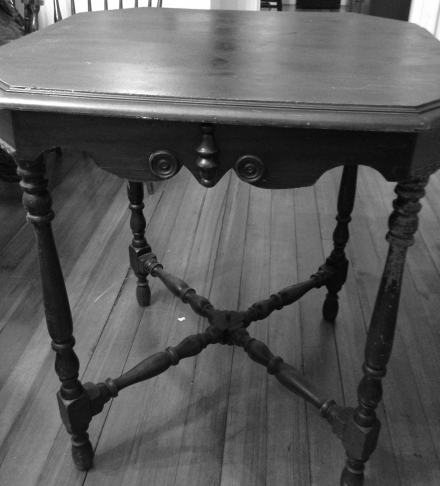 Antique Table Before Restoration B&W