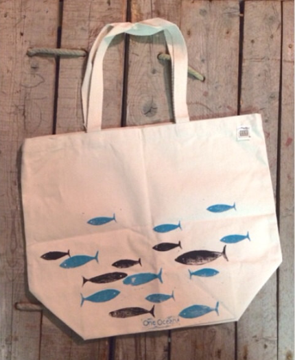 Canvas Fish Tote Bag from OneOceanArts