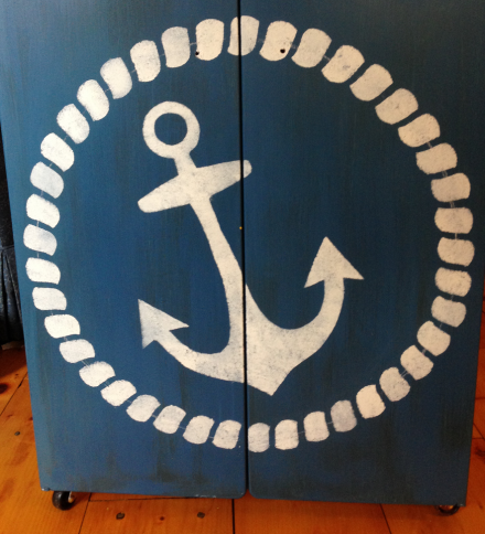 Nautical Cabinet Completed Anchor and Rope Stencil