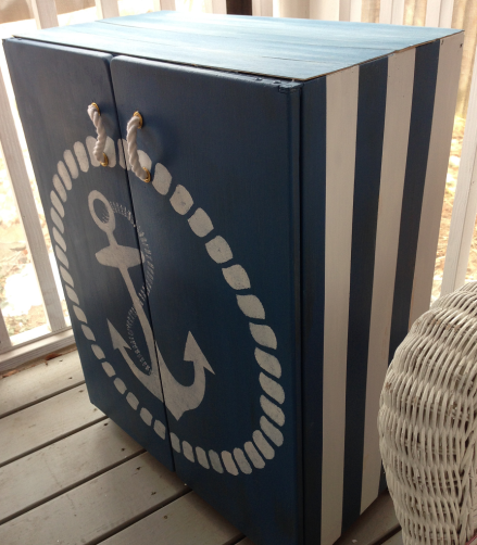 Nautical Cabinet Side view Stripes