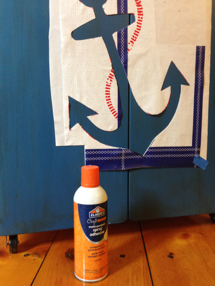 Nautical Cabinet Spray Adhesive for Stencil