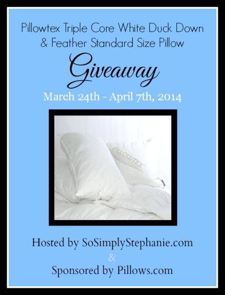 Pillowtex Triple Core Pillow Giveaway