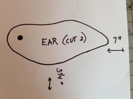 Wood Pattern Easter Bunny Ear