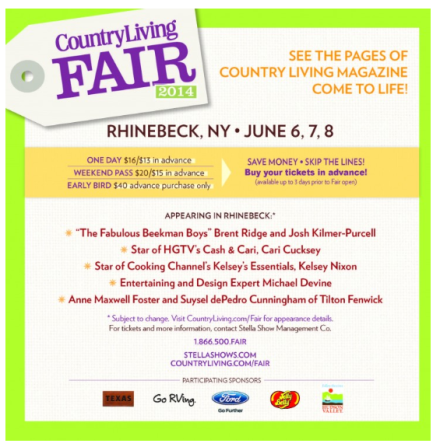 Country Living Fair Lineup