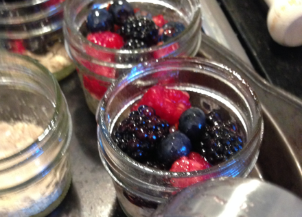 Cobbler Mason Jars Filled with Fruit