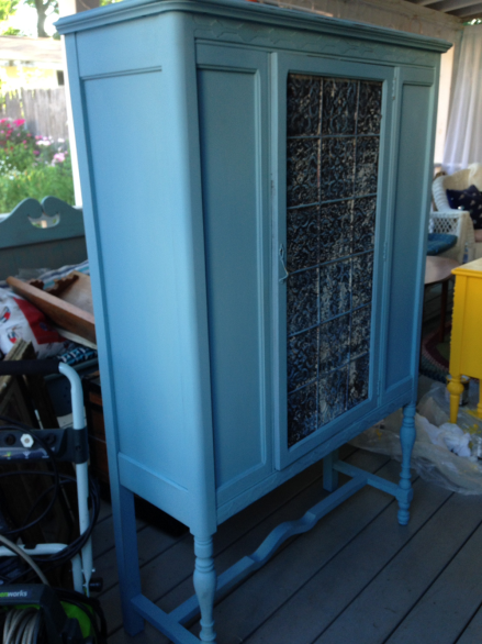 Tin Paneled Painted Cabinet