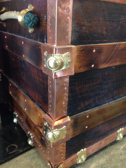 Reclaimed State Copper Trunk Corner Detail