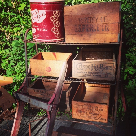 Wooden Crates at Yard Sale