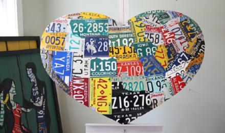 USA Heart Map Aaron Foster License Plate Art