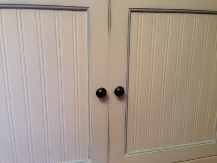 Coastal Kitchen Cupboard Wainscoting Wallpaper Doors