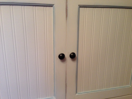 Wainscoting cabinet doors quot i created wainscoting out - Wainscoting kitchen cabinets ...