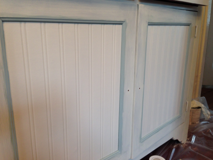 Coastal Kitchen Cupboard with Wainscoting Wallpaper Panel Inserts
