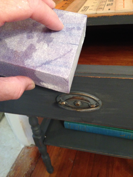 Vintage Rules Sanding with damp brick