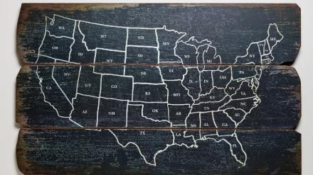 World market USA Plank Map