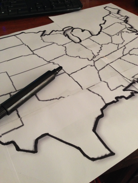 USA Map Printed Outline