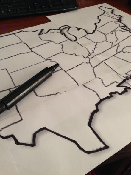 USA Map Printed Outline