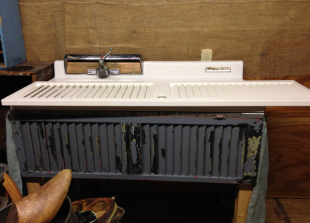 Vintage Sink adding Shutter Shelves