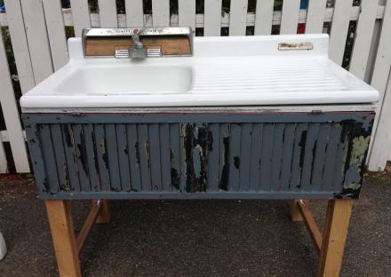 Vintage Sink on Base with Blue Shutter